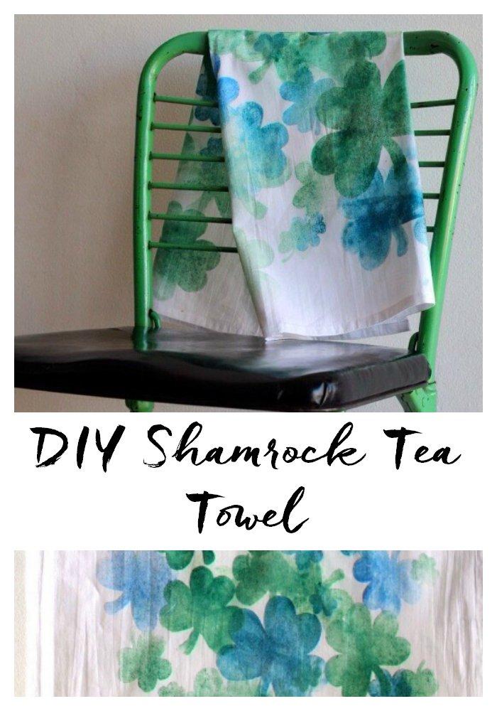 DIY Shamrock Tea Towel using DecoArt Ink Effects