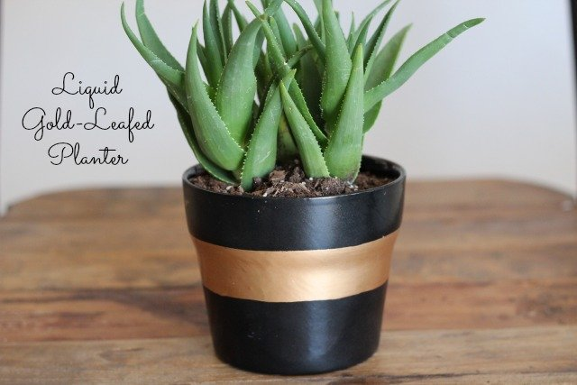 Striped Planter with Liquid Gold Leaf