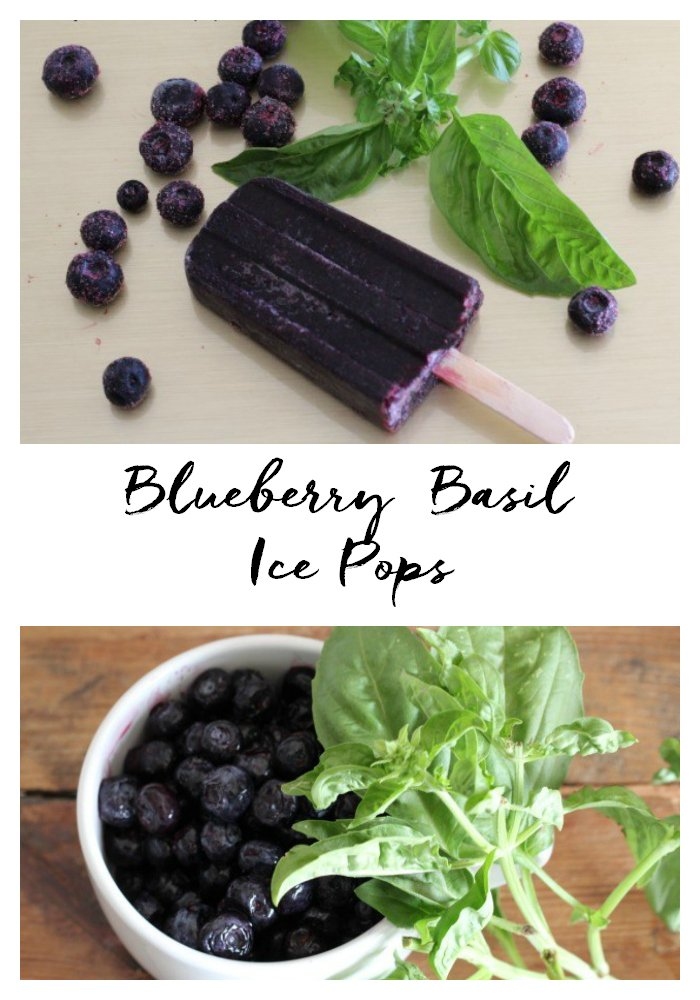 Blend blueberries and fresh basil together, freeze and make a refresing and delicious ice pop.