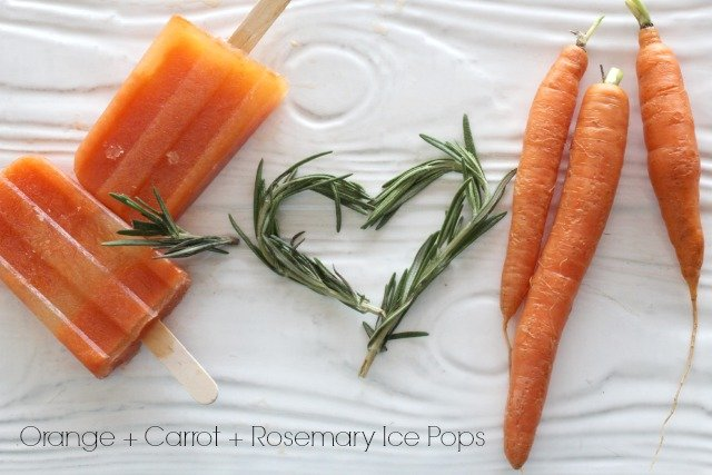 Orange + Carrot + Rosemary Ice Pops www.sparklepantsgirl.com