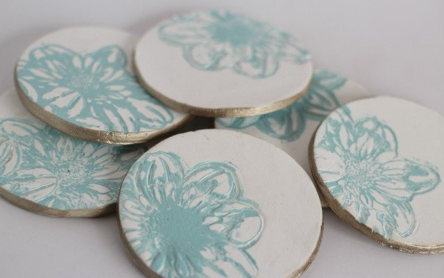 Floral Imprinted Summer Coasters
