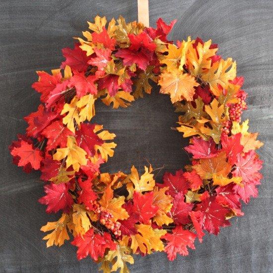 DIY Sparkly Autumn Leaf Wreath sparklelivingblog.com