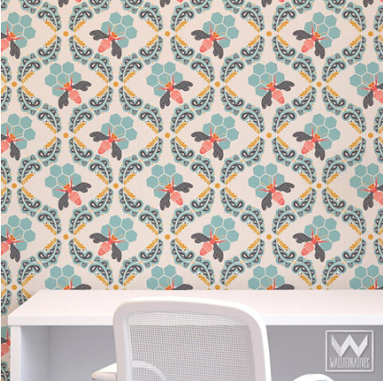 Wallternatives Bee Sweet Bonnie Christine Removable Wallpaper