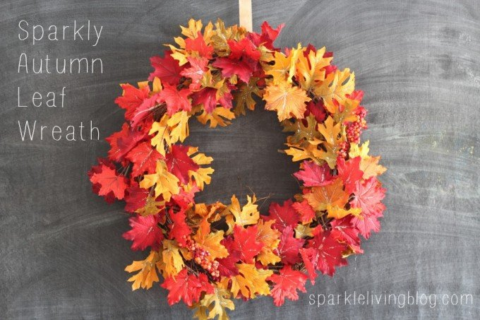 DIY Sparkly Autumn Leaf Wreath