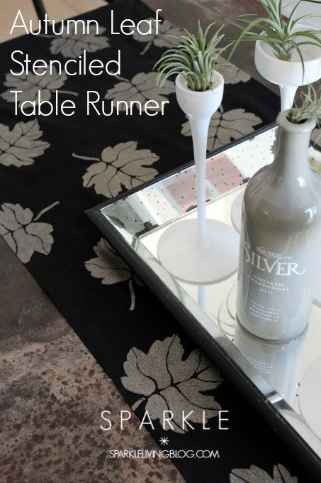 Autumn Leaf Stenciled Table Runner