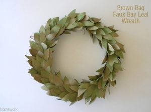 Brown Bag Faux Bay Leaf Wreath - Homework
