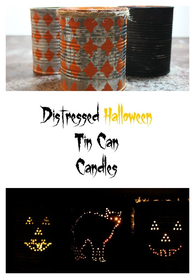 Distressed Halloween Tin Can Candle