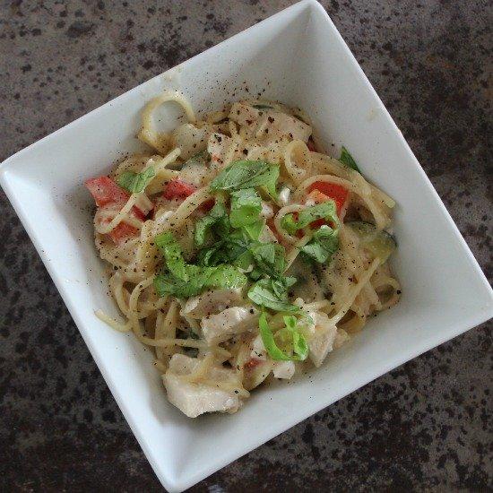 Chicken and Veggie Pasta with Feta