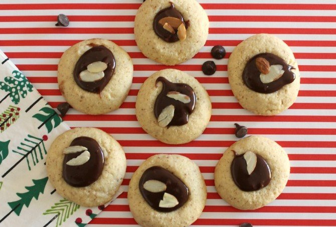 Almond and Milk Chocolate Ganache Thumbprint Cookies
