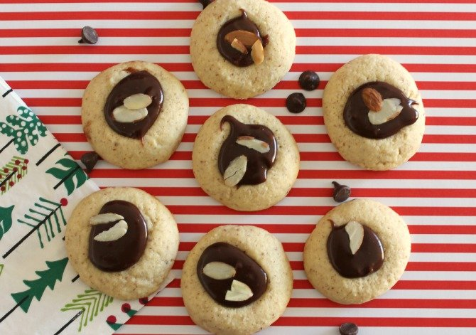 Almond and Milk Chocolate Ganache Thumbprint Cookies
