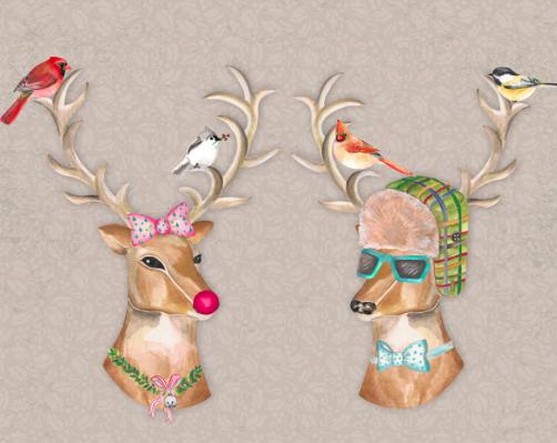 Wallternatives Boy Meets Girl Reindeer Decal Set