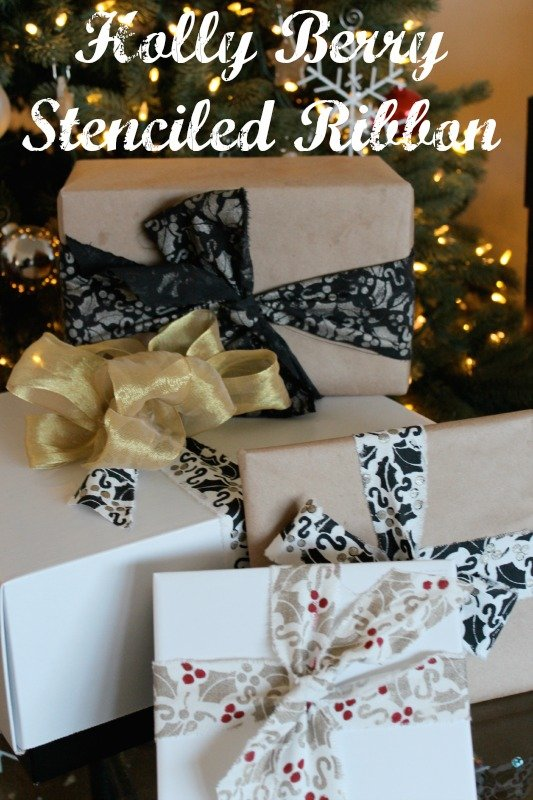 Holly Berry Stenciled Ribbon