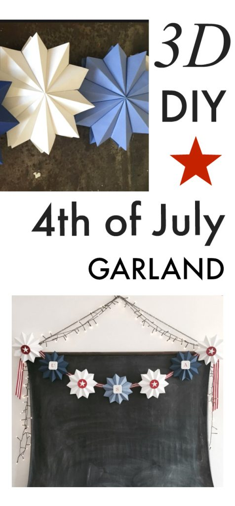 Create this 3D star Fourth of July Garland to decorate for your patriotic party! #fourthofjuly #papercraft #partydecor