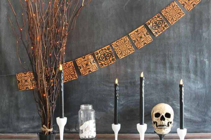 Create this colorful and not-spooky Halloween Banner in orange and black with this easy tutorial.