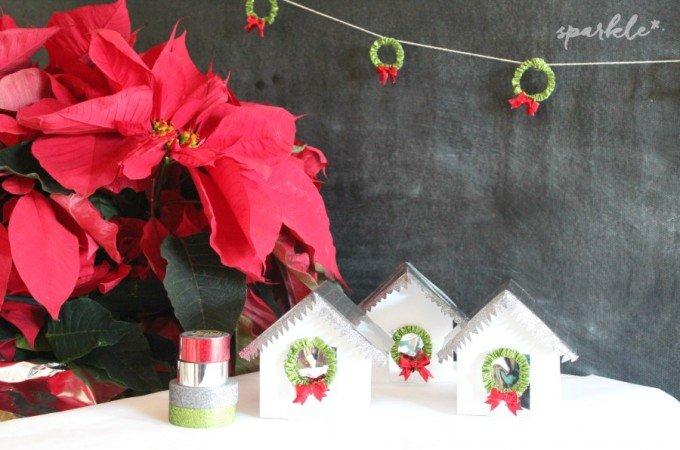 Glittery DIY Mini Christmas Houses