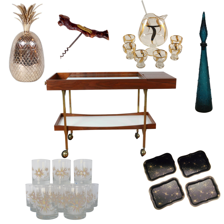 Chairish MCM Holiday Bar Cart