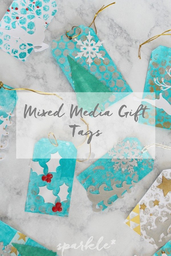 mixed media holiday gift tags sparkle living blog