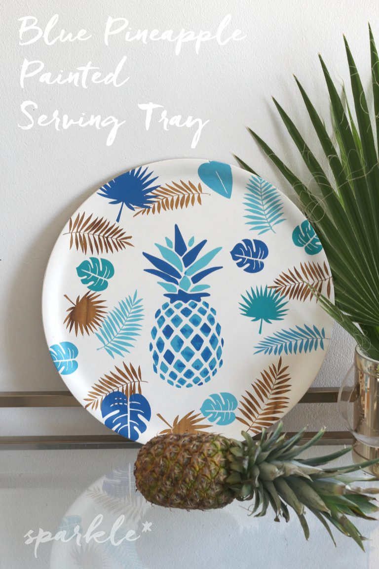Blue Pineapple Painted Serving Tray