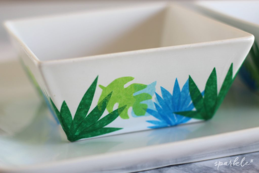 Decoupage cat bowls with tissue paper! You won't believe it's dishwasher safe!