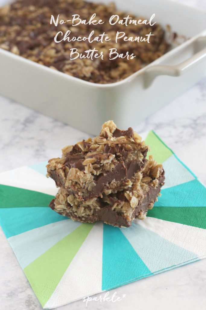 These No-Bake Oatmeal Chocolate Peanut Butter Bars are delicious and decadent, plus they are ridiculously easy to make.
