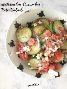 This Watermelon Cucumber and Feta Salad is so refreshing and a perfect lunch for a hot summer day. The recipe is so easy too!