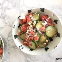 Watermelon Cucumber and Feta Salad