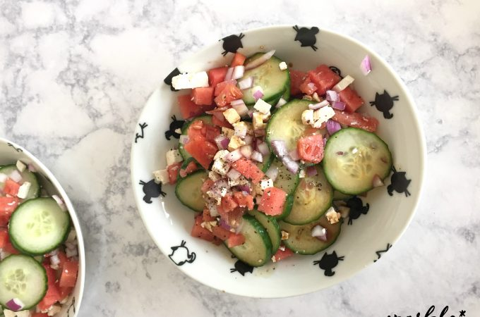 Watermelon Cucumber and Feta Salad