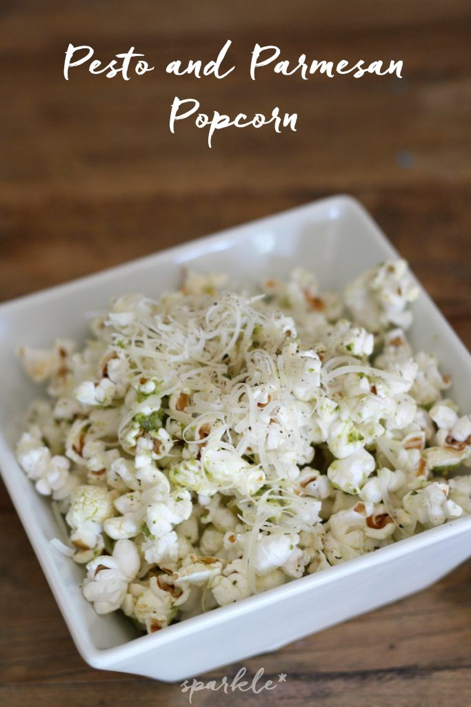 Pesto and parmesan popcorn. This treat is so flavorful, you'll never want plain old popcorn again.