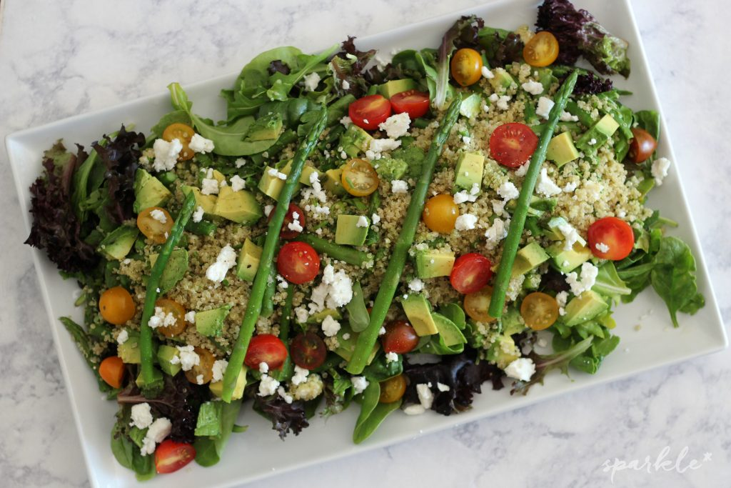 Quinoa Asparagus Salad with a Lemon Pesto Drizzle. It tastes so refreshing and helps you get all those healthy veggies in!