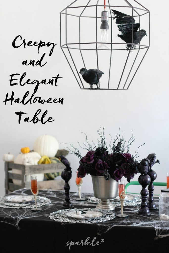 Elegant yet creepy Halloween table settings.