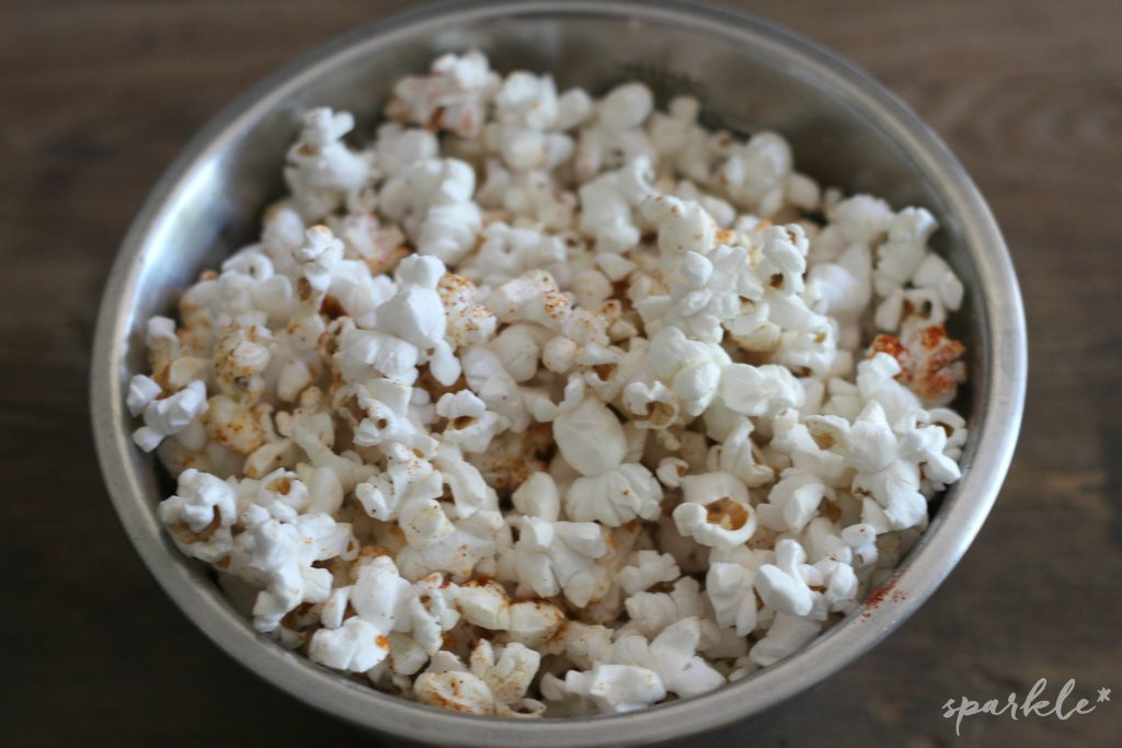 Smokey and spicy popcorn! Easy to make smokey chipotle popcorn recipe.