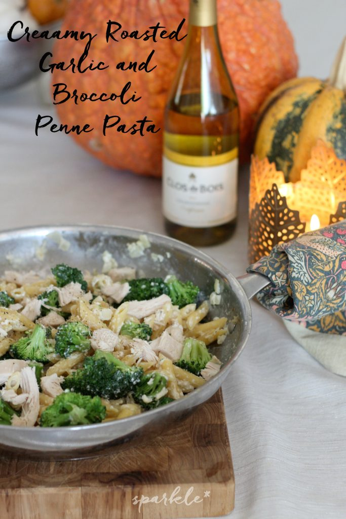 Creamy Roasted Garlic and Broccoli Penne Pasta with Clos du Bois Chardonnay. This is the perfect dinner for fall entertaining. This is a simple yet stunningly delicious recipe.