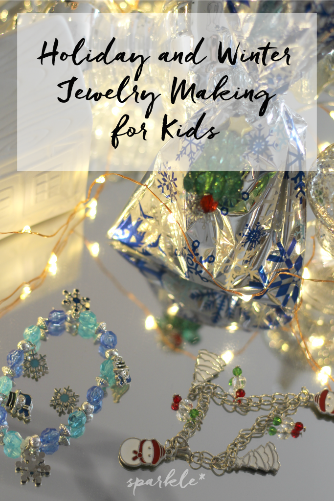 Make winter and holiday jewelry with the kids using fun kits from Oriental Trading!
