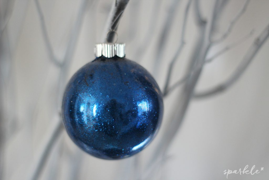 DIY icy tree branch decor with hand glittered ornaments