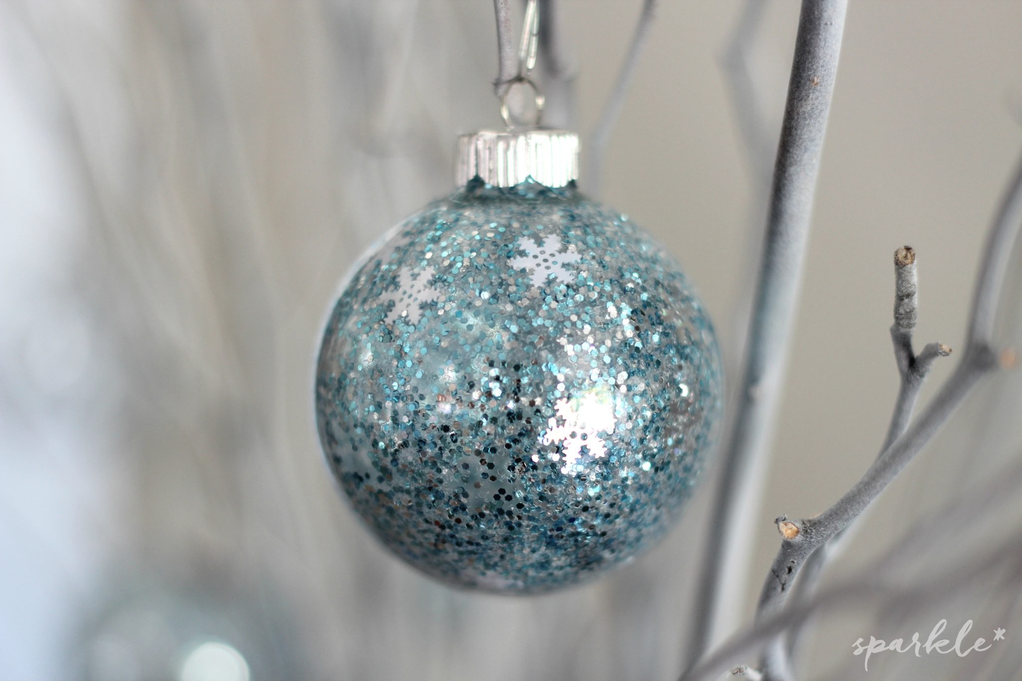 Icy Tree Branch Decor with Hand Glittered Ornaments * sparkle living ...