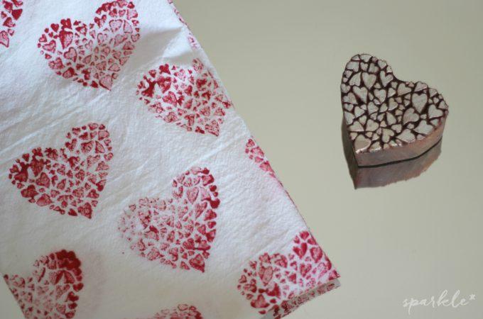 Wooden Block Heart Stamped Tea Towel