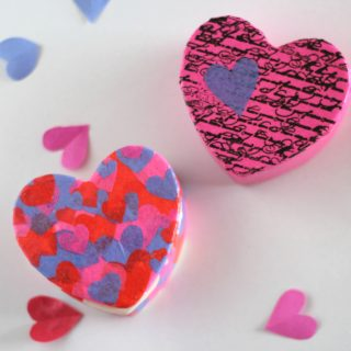 Decoupaged Ceramic Heart Trinket Boxes. This craft is fun and makes a perfect gift for Valentine's Day!