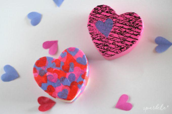Decoupaged Ceramic Valentine's Heart Boxes