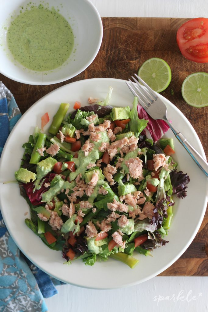 Spring salad with asparagus, tuna and creamy cilantro lime dressing