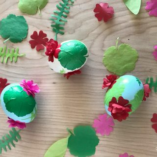 Decoupaged Floral Easter Eggs. Easter eggs decoupaged with geranium flower dies, with the flowers made to pop-up!