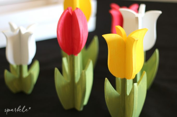 Springtime Painted Wooden Tulips