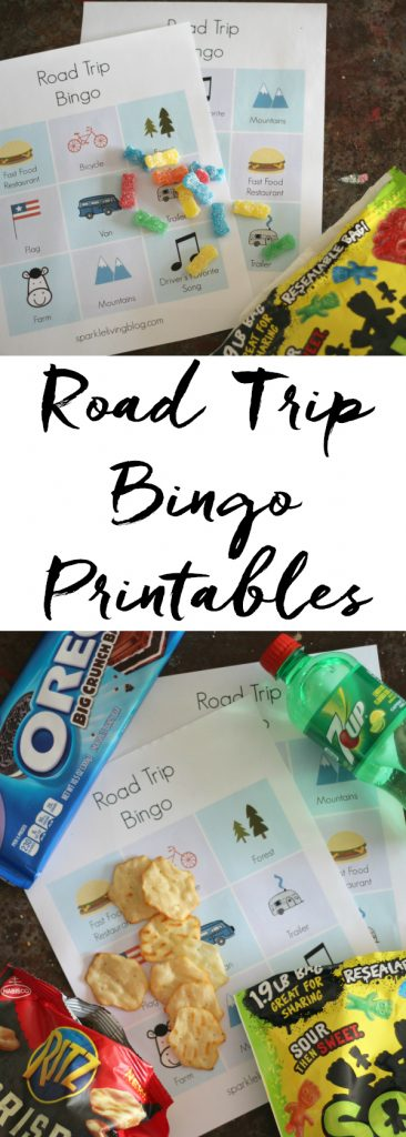 Have fun on your road trip with these fun Road Trip Bingo printables and some tasty snacks! #ad #RoadTripTreats