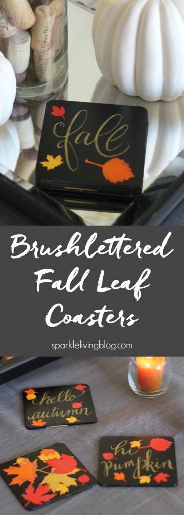 Brushlettered fall leaf coasters