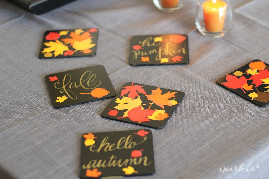 Brushlettered fall leaf coasters