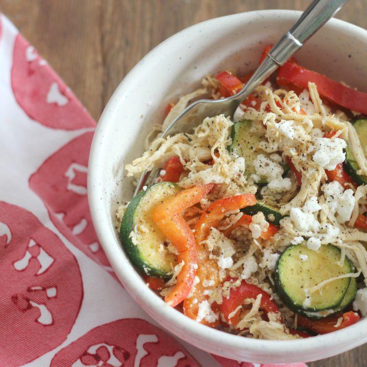 Quinoa veggie feta protein bowl.