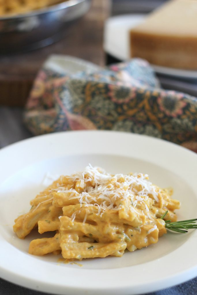 Pumpkin rosemary cream pasta with Parmigiano-Reggiano chesse