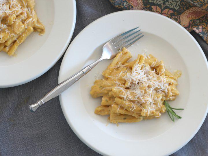Pumpkin rosemary cream pasta with Parmigiano-Reggiano chesse