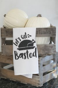 Create this clever tea towel for Thanksgiving using a stencil and some fabric paint!