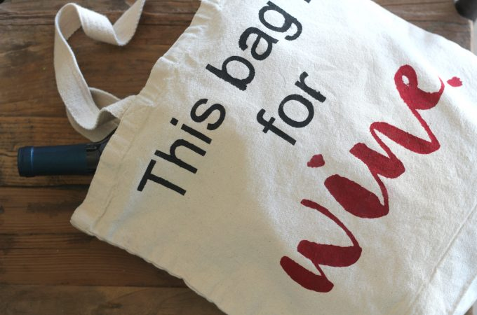 Freezer Paper Stenciled Tote for the Wine Lover