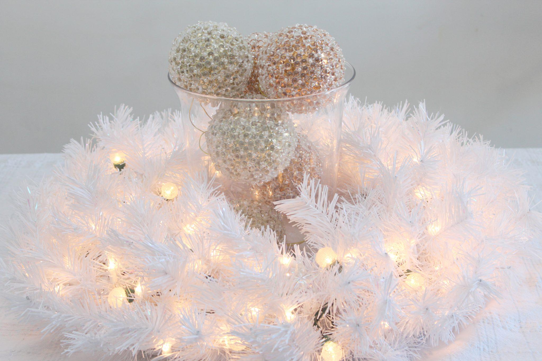 Glam NYE White Wreath Centerpiece